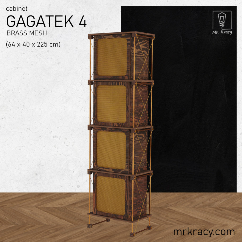 modele 3d wysoka szafka z siatką mosiężną