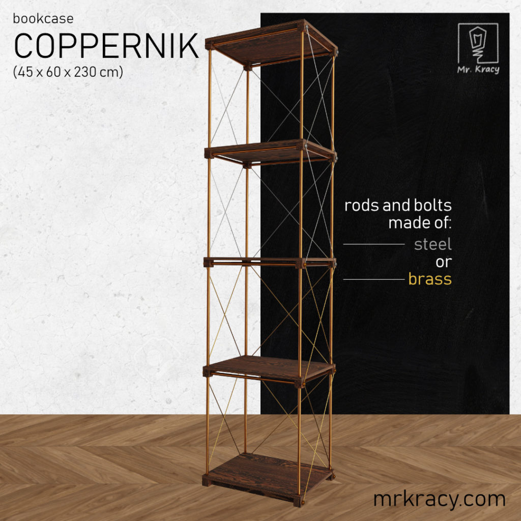 3d model bookcase coppernik 45x60x230
