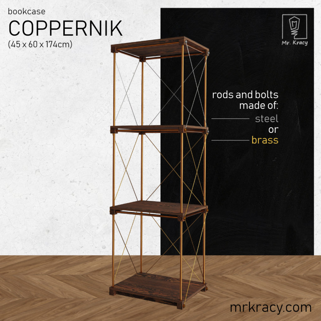 3d model bookcase coppernik 45x60x174