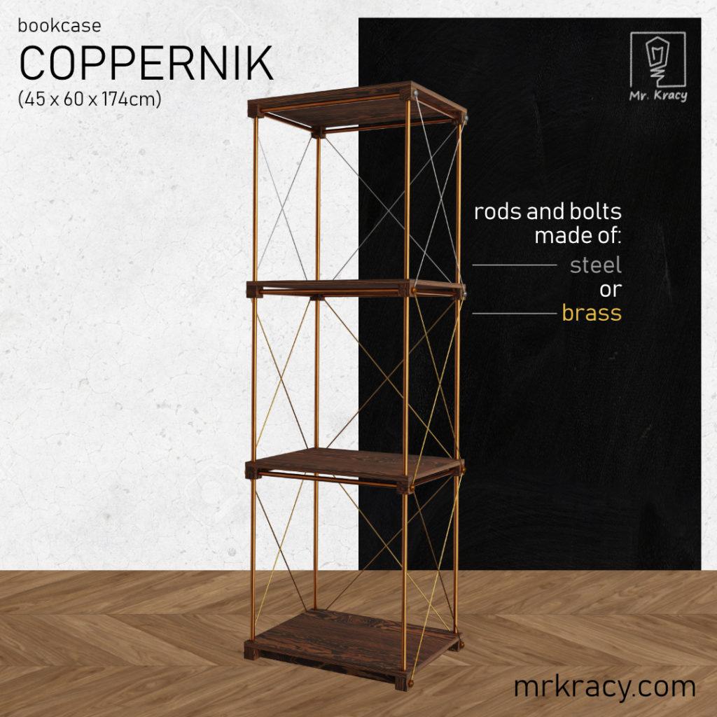 3d model bookcase coppernik 45x60x174