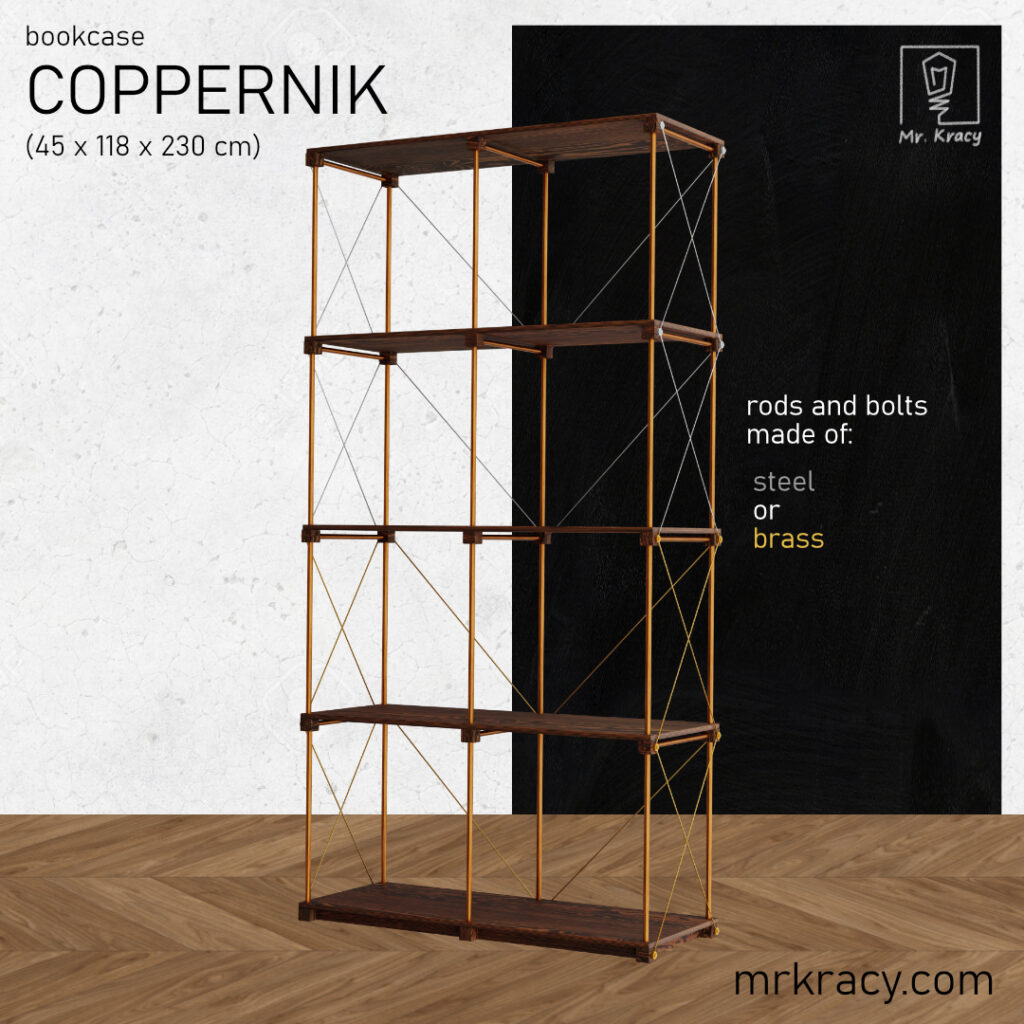 3d models interior copper pipe bookshelf