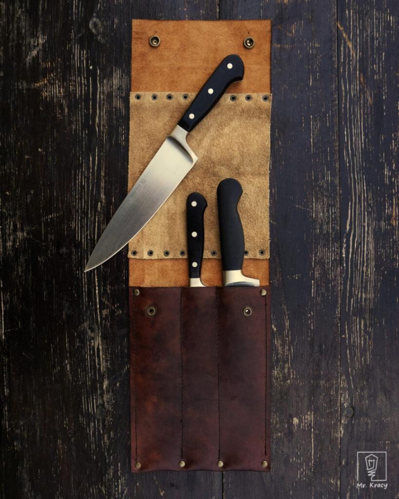 skórzany pokrowiec na noże kuchenne